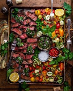 Would you share this with anyone? Summertime Sundays are made for Big Family-Style Meals with the crew. Striploin on the grill with Chimichurri & Caprese. Party Food Platters, Cooking Recipes, Healthy Recipes, Whole30 Recipes, Healthy Desserts, Crockpot Recipes, Chicken Recipes, Food Presentation, Caprese Salad