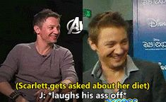 my stuff The Avengers Jeremy Renner scarlett johansson rennerson I love the fact that Jeremy laughs every time Scarlett gets asked this question