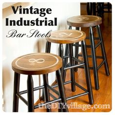Anniversary Date Numbered Bar Stools in vintage industrial style