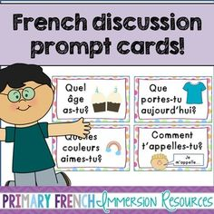 Primary French discussion prompt cards by Primary French Immersion Study French, Core French, Learn French, Learn English, French Lessons, Spanish Lessons, Math Lessons, Teaching French Immersion, Communication Orale