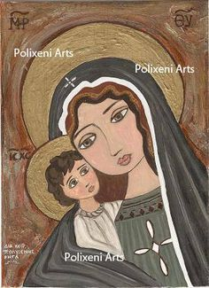 "Polixeni R  ""Mother Mary and Baby Jesus"" Hand painted, MDF Board 16cm x 22.5cm"