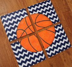 4 paintings 8 x 10 or 12 x 12 Chevron Basketball Blue Canvas Art Boys Bedding Room Decor-You pick sport! from slharnisch on Etsy.