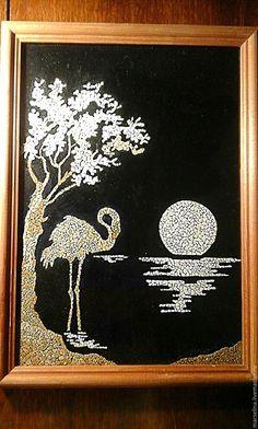 Купить Картины и панно мозаика из яичной скорлупы.Фламинго. - мозаика из скорлупы яиц, птицы, животные