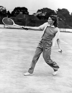 Katharine Hepburn playing tennis at the Merion Cricket Club in Philadelphia, 1940.