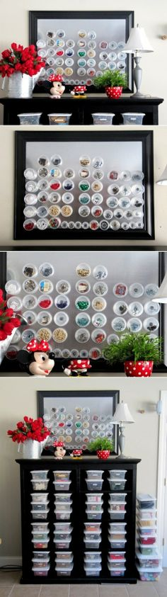 I like what they did with the plastic storage bins.  Could organize yarn this way.  DIY Magnetic Storage For Small Things