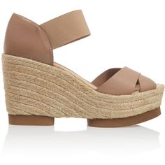 Paloma Barceló Leather espadrille wedge sandals (360 PLN) ❤ liked on  Polyvore featuring shoes