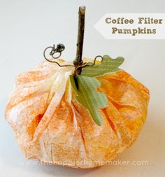 Cute craft especially for kids- coffee filter pumpkin tutorial DIY