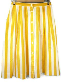 Stripe button sown midi skirt