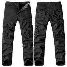Mens Winter Thick Warm Cargo Pants Polar Fleece Lined Soild Color Multi-pocket Casual Trouser