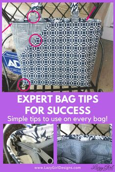 Use these expert tips to guarantee your next bag project is a success. Sewing Hacks, Sewing Tutorials, Sewing Tips, Bag Tutorials, Lazy Girl Designs, Bag Patterns To Sew, Handbag Patterns, Tote Pattern, Sewing Patterns
