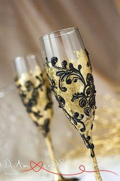 Modern Gold Black Champagne Flutes Bride and Groom by DiAmoreDS