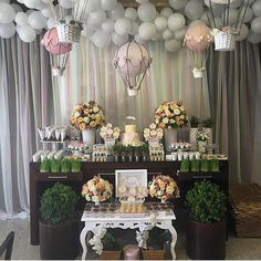 Decoration Birthday Party Ideas Create your perfect party with various decorations like the picture below!Choose from some of plain and themed birthday party decorations including banners, bunting, paper decorations, pom poms,baloon and more. Balloon Decorations, Birthday Party Decorations, Baby Shower Decorations, Birthday Parties, Shower Bebe, Baby Boy Shower, Shower Party, Baby Shower Parties, Unique Baby Shower Themes