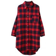 3e53256f78 Oversized Plaid Print High Low Button Down Shirt OASAP.COM ( 18) ❤ liked