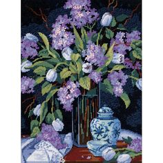 This lovely 'Tulips and Lilacs' needlepoint kit by Dimensions includes everything you need to create a timeless work of art. The kit includes easy to follow instructions.