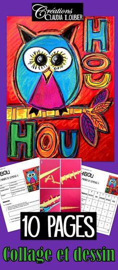 Travailler à la manière d'une artiste incroyable : Clémence G. Vous trouverez ces oeuvres sur internet. Un magnifique hibou en collage, avec des ajouts de couleurs au dessin pour finaliser. Réalisable avec des petits de 1re année et tout aussi intéressant à faire en 6e. La démarche complète avec photos et grille d'évaluation sont incluses dans ce document.