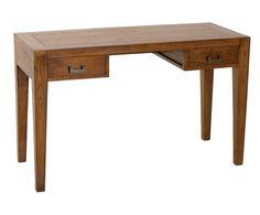 Mesa de escritorio en madera de mindi con 2 cajones -natural