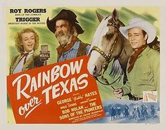 Roy Rogers Dale Evans Gabby Hayes Rainbow Over Texas 11x14 Print 1946 ...A great movie. Check out the Pioneers' song, Cowboy Campmeeting. In this musical western, Dale Evans plays the daughter of a wealthy business tycoon. she is discontent with her life of wealth and runs away to go back to Texas to her old ranch. Along the way, she meets up with radio stars Roy Rogers and the Sons of the Pioneers. Romance and song lead to mystery and adventure.