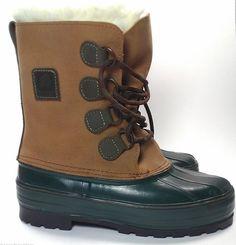 LaCrosse Mens Leather Boots Size 7 US Tan Green Hunting Snow Duck Wool Liners  #LaCrosse #SnowWinterDuck