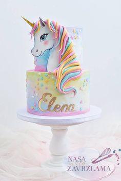 Unicorn Cake by Nasa Mala Zavrzlama cake decorating recipes kuchen kindergeburtstag cakes ideas Cool Birthday Cakes, Birthday Cake Girls, Unicorn Birthday Parties, Unicorn Party, Fondant Birthday Cakes, 15 Birthday, Cake Fondant, Princess Birthday, Pretty Cakes
