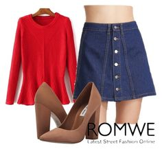 """""""Romwe"""" by sana-clxxv ❤ liked on Polyvore featuring Steve Madden"""