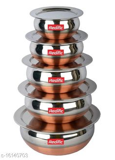 Pots Copper Bottom Handi set with lid 5 Piece (1750 ML, 1450 ML, 950 ML, 700 ML, 400 ML) Material: Stainless Steel Pack: Multipack Length: 19 cm Breadth: 19 cm Height: 10 cm Size (in ltrs): 5 L Country of Origin: India Sizes Available: Free Size   Catalog Rating: ★4.2 (705)  Catalog Name: Classy Pots CatalogID_3209195 C137-SC1596 Code: 747-16140703-3681