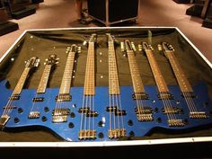 Custom Eight Guitar(s) includes 2 Bass, 6 string, and quite possibly ukulele and mandolin. Music Guitar, Cool Guitar, Guitar Pins, Ukulele, Daft Punk, Famous Guitars, Guitar Photos, Guitar Neck, Smooth Jazz