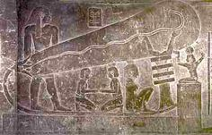 It is not understood how the insides of some pyramids had colourful paintings and no deposits of soot from the required light sources. Is it because the Egyptians had light bulbs and electricity? Several reliefs like this one have been found, as have strange pots containing copper cylinders. Could these be galavanic elements - primitive batteries?