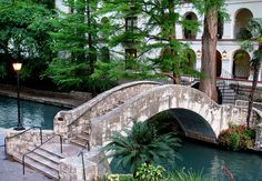 Bridge across the San Antonio River, RiverWalk, San Antonio, Texas.