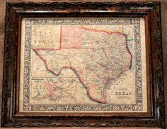 Texas State Map Print of an 1864 Map on Parchment by apageintime