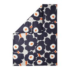 Discover the Marimekko Unikko Duvet Cover - Grey/Coral - Single 150x210cm at Amara