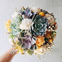 A beautiful bridal bouquet of assorted succulents, sola wood flowers, craspedia (billy balls) and dried blooms, wrapped in ivory satin ribbon. Shades of ivory, purple, yellow, green, and blue. The succulents can be cut from your bouquet after use and planted to enjoy for years to come!