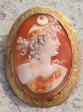 ANTIQUE 10K GOLD HAND CARVED SHELL CAMEO PENDANT PIN NYX GREEK GODDESS OF NIGHT