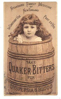 Quaker Bitters Victorian trade card patent medicine advertising ephemera - 1800-99