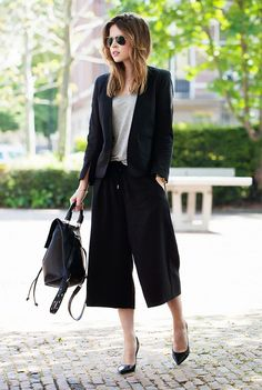Christine Reehorst of Fash-N-Chips wearing a black blazer and black culottes with a simple t-shirt and black pumps