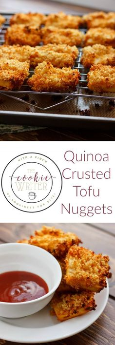 ) - The Cookie Writer Quinoa Crusted Tofu Nuggets (Tofu Chicken Nuggets! Veggie Recipes, Whole Food Recipes, Cooking Recipes, Recipes With Tofu, Tofu Dinner Recipes, Tofu Meals, Vegetarian Recipes Tofu, Cooking Games, Meal Recipes