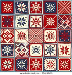 Christmas background, quilt, snowflakes, seamless pattern, cross-stitch, the scheme of squares