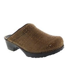 Loving this Cognac Embossed Split with Art Wood & Leather Clog on #zulily! #zulilyfinds
