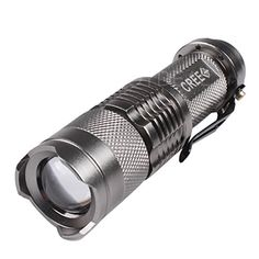 NiceGoods Mini 500Lm CREE Q5 LED Adjustable Zoom Focus Flashlight Torch Sliver. Features: ? 100% Brand New and High Quality. Material: 6061T Aluminium Alloy Bulb: 500 LM CREE LED Battery Type: AA or 14500 Battery(Not Included) Color:Sliver Switch: Tactic Click Reverse Swith Water-resistant ,Can use it in rainy day, but can not put it into water! Adjustable Focus ,you can Zoom in/out to adjust its beam . Size: 93mmx25mmx20mm ? Package Included: ? 1 x Mini Flashlight torch.