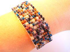 adjustable beaded loom bracelet earth tone by VazJewelryOriginals