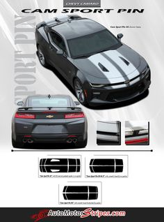 Vehicle Specific Style Chevy Camaro Cam-Sport Pin Striping Outline OEM Factory Style Racing and Rally Stripes Kit Year Fitment 2016 2017 : Fits SS - RS - V6 Cou