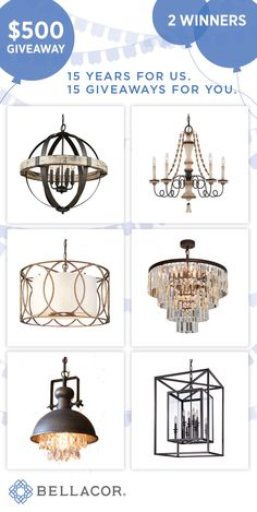 $500 Lighting Shopping Spree in honor of our 15th Anniversary. #Cheersto15Years  http://www.bellacor.com/minka-lavery.htm#Giveaway