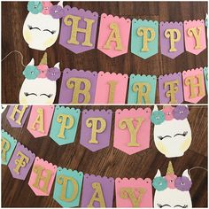 Glam Unicorn Banner Happy Birthday Banner Unicorn Banner