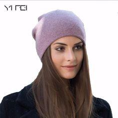 4e9434e7a0ef2 2018 Women s Winter Hat Knitted 100%Wool Beanie Female Fashion Skullies  Casual Outdoor Mask Ski