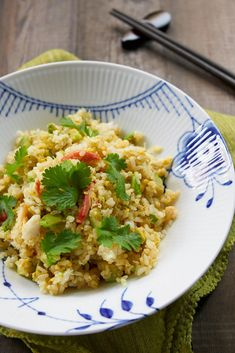 Creamy avocado and briny crab make this easy fried rice delicious and colorful.