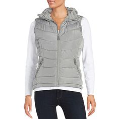 Calvin Klein Quilted Puffer Vest ($60) ❤ liked on Polyvore featuring outerwear, vests, tin, quilted puffer vest, quilted vest, puffer vest, puffy vest and sleeveless waistcoat