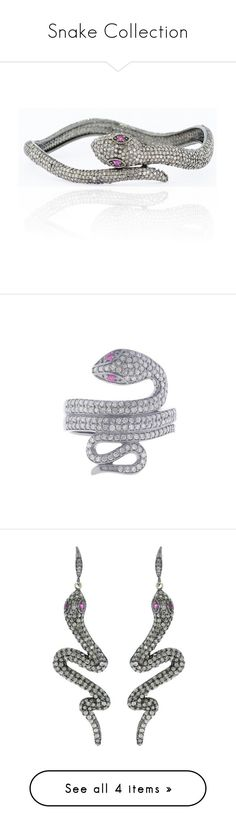 """""""Snake Collection"""" by vintagediamondjewels ❤ liked on Polyvore featuring jewelry, bracelets, diamond bangle bracelet, hinged bracelet, diamond bracelet bangle, diamond jewelry, bangle jewelry, rings, vintage style rings and pave ring"""