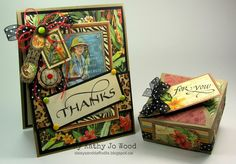 Thank you gift set using Graphic 45 Safari Adventure and Quietfire Design stamps. Box created using Spellbinders box die. Adventure Gifts, Safari Adventure, 3d Craft, Needle Book, Graphic 45, Paper Cards, Creative Cards, Vintage Cards, Mini Albums