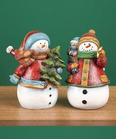 Resin Holiday Snowman Figurine Set by Transpac Imports on today! Christmas Tea, Miniature Christmas, Christmas Snowman, All Things Christmas, Christmas Crafts, Christmas Ornaments, Handmade Christmas Decorations, Xmas Decorations, Holiday Decor