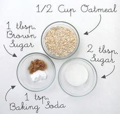 DIY Oatmeal Coconut Cookie Body Scrub. Combine dry materials 1 tbsp brown sugar, 2 tbsp sugar, 1 tbsp baking soda, and a 1/2 cup blended (becomes powder) dry oatmeal. Then add 6 tbsp of liquid coconut oil.