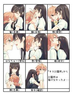 Different Types of Kisses [Bloom into You] : wholesomeyuri Cute Lesbian Couples, Lesbian Art, Cute Anime Couples, Manga Yuri, Yuri Anime, Yuri Comics, Anime Comics, Anime Girlxgirl, Kawaii Anime